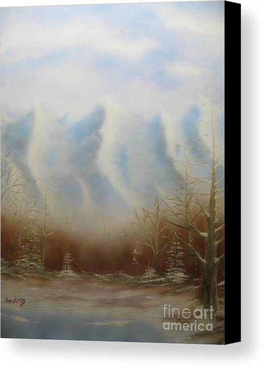 Mountains Canvas Print featuring the painting Winter Mountains by Todd Androy