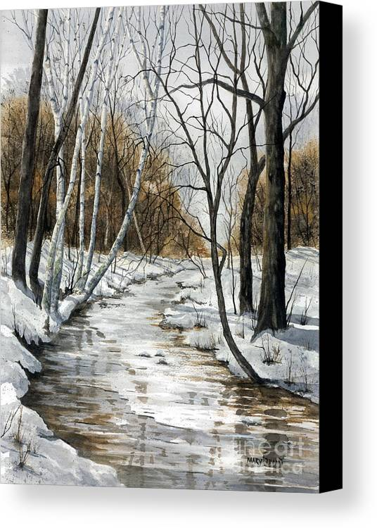 Minnesota Canvas Print featuring the painting Winter River by Mary Tuomi