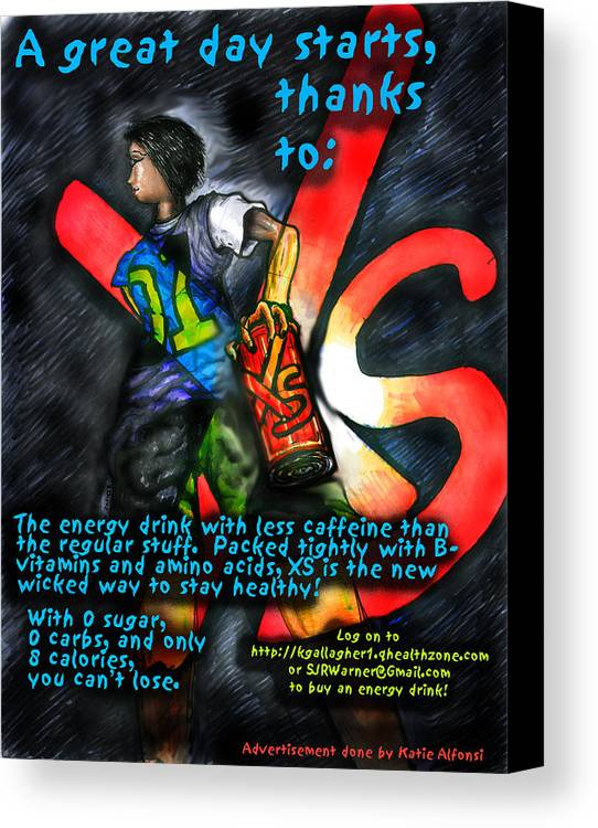 Xs Energy Drink Canvas Print featuring the digital art Xs Advertisement by Katie Alfonsi