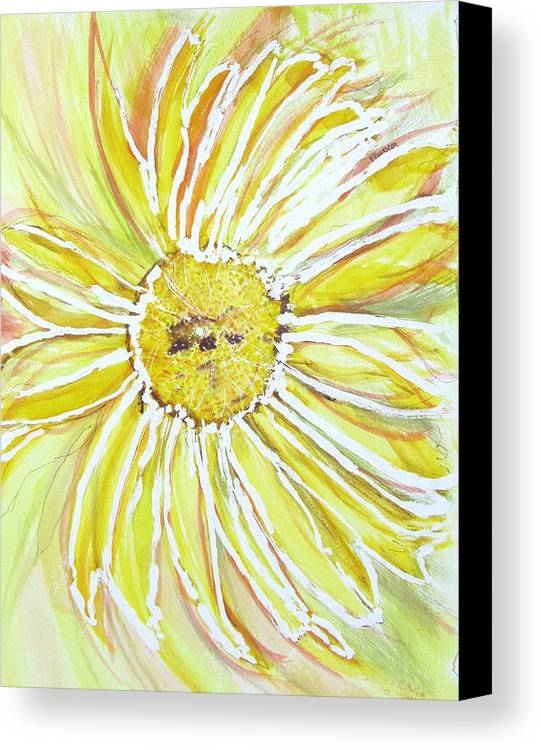 Flower Canvas Print featuring the painting Yellow Daisy Portrait by Barbara Pearston