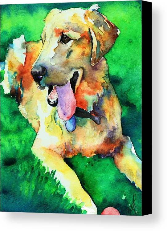 Yellow Lab Canvas Print featuring the painting Yellow Labrador by Christy Freeman