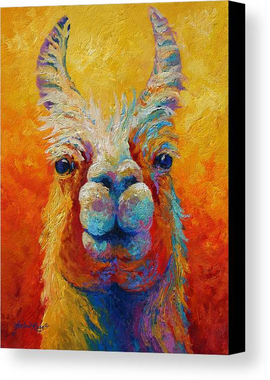 Llama Canvas Print featuring the painting You Lookin At Me by Marion Rose