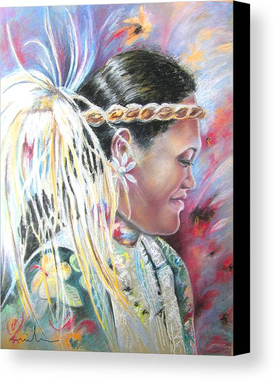French Polynesia Canvas Print featuring the painting Young Polynesian Mama by Miki De Goodaboom