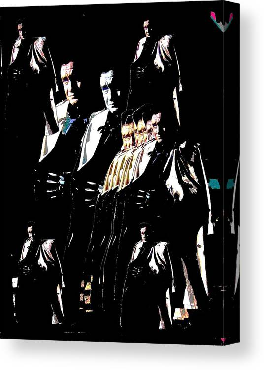 Johnny Cash Trench Coat Film Noir Old Tucson Arizona Surrealism Color Added Collage Canvas Print featuring the photograph Johnny Cash Multiplied by David Lee Guss