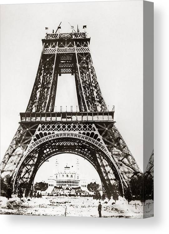 1888 Canvas Print featuring the photograph Eiffel Tower Construction by Granger