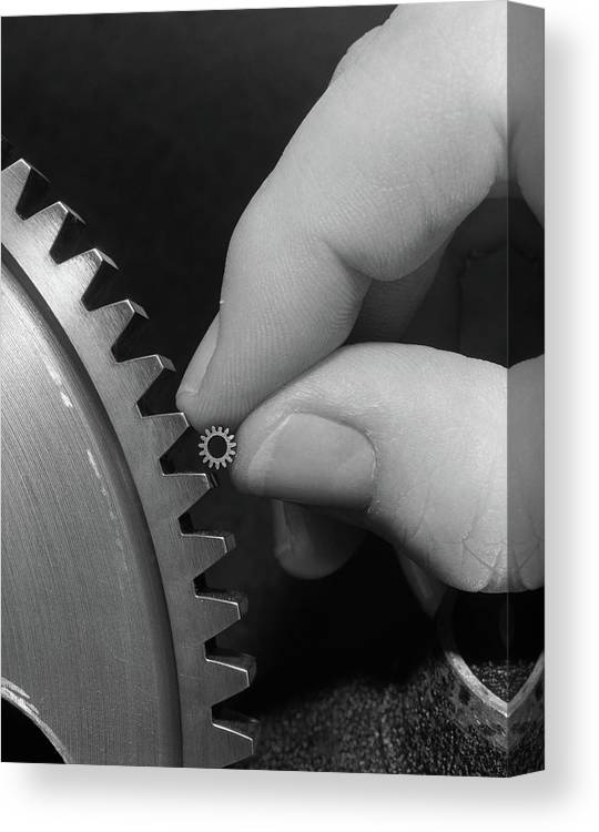 Photography Canvas Print featuring the photograph 1970s Hands Holding Tiny Gear Alongside by Vintage Images