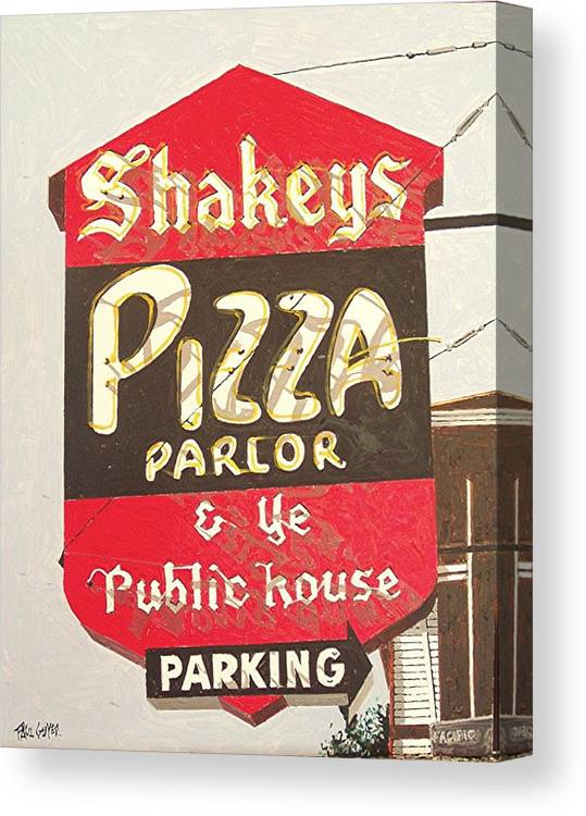Sacramento Canvas Print featuring the painting Shakey's Pizza by Paul Guyer