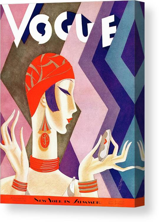 Illustration Canvas Print featuring the photograph A Vintage Vogue Magazine Cover Of A Woman by Eduardo Garcia Benito