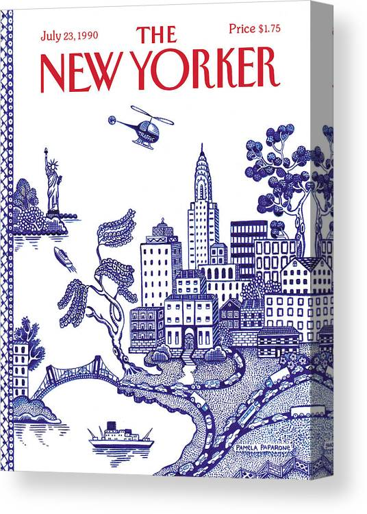New York City Canvas Print featuring the painting A View Of New York City by Pamela Paparone