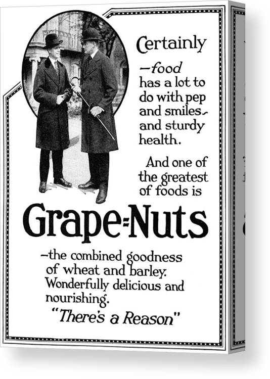 1919 Canvas Print featuring the painting Ad Grape Nuts, 1919 by Granger