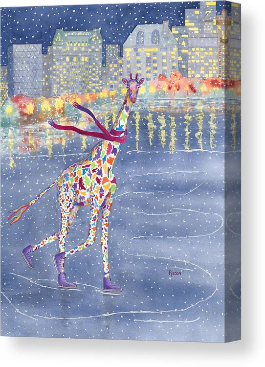Giraffe Canvas Print featuring the painting Annabelle On Ice by Rhonda Leonard