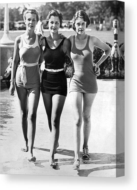 1930s Canvas Print featuring the photograph Army Bathing Suit Trio by Underwood Archives