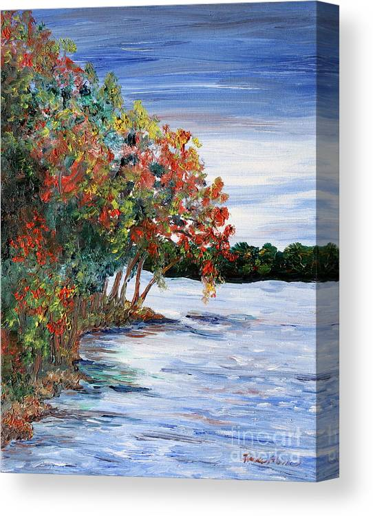 Fall Canvas Print featuring the painting Back Waters by Linda Steine