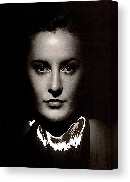 Barbara Stanwyck Early In Her Career C.1933 Canvas Print featuring the photograph Barbara Stanwyck Early In Her Career C.1933-2014 by David Lee Guss