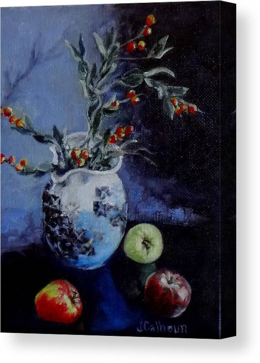 Mini Paintings Canvas Print featuring the painting Blue Jug And Apples by Jennifer Calhoun