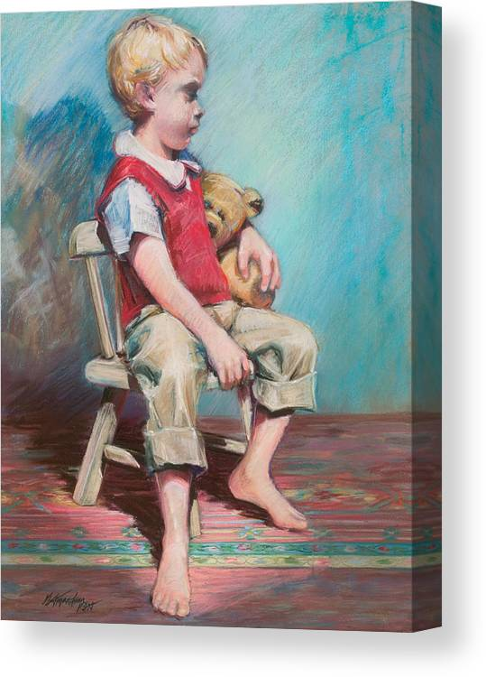 Child Canvas Print featuring the pastel Boy In Chair by Beverly Amundson