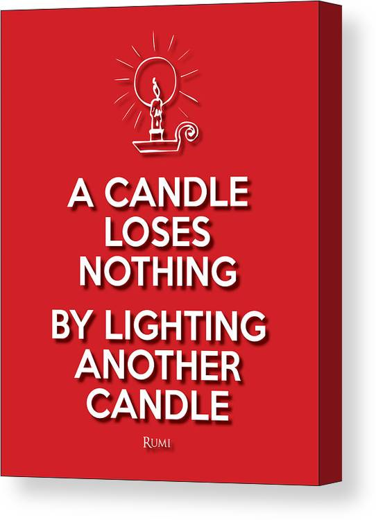Life Message Canvas Print featuring the digital art Candle Red by Splendid Notion Series