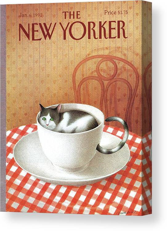 Cat Canvas Print featuring the painting Cat Sits Inside A Coffee Cup by Gurbuz Dogan Eksioglu