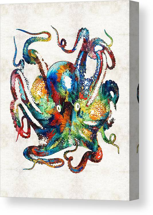 Octopus Canvas Print featuring the painting Colorful Octopus Art By Sharon Cummings by Sharon Cummings