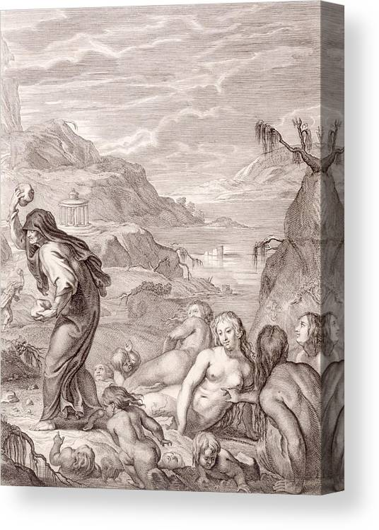 Stone Canvas Print featuring the drawing Deucalion And Pyrrha Repeople The World By Throwing Stones Behind Them by Bernard Picart