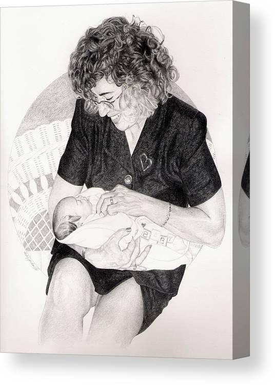 Granddaughter Grandmother Family Baby Newborn Child Children  Canvas Print featuring the drawing First Granddaughter by Herbert Jordan