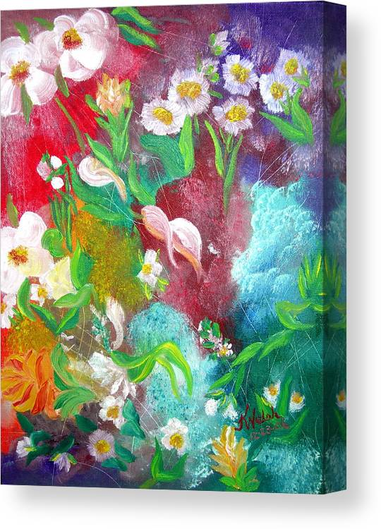 Abstract Canvas Print featuring the painting Floral Fantasy by Kathern Welsh