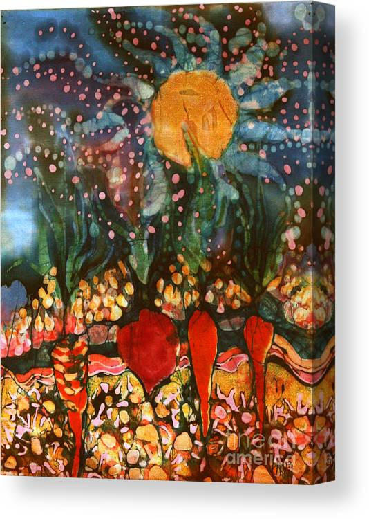 Vegetables Canvas Print featuring the tapestry - textile Garden In Moonlight by Carol Law Conklin