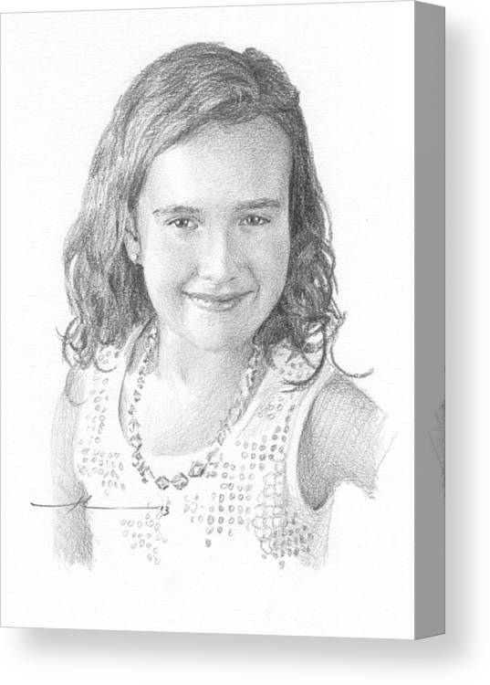 <a Href=http://miketheuer.com Target =_blank>www.miketheuer.com</a> Girl With Necklace Pencil Portrait Canvas Print featuring the drawing Girl With Necklace Pencil Portrait by Mike Theuer