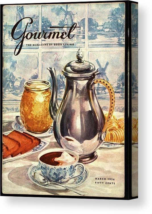 Illustration Canvas Print featuring the photograph Gourmet Cover Featuring An Illustration by Hilary Knight