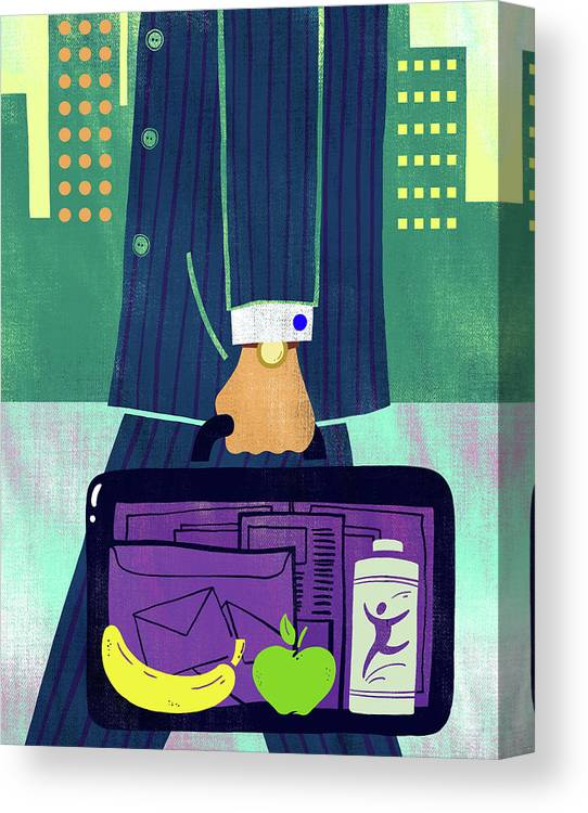 Apple Canvas Print featuring the photograph Illustration Of Fruits In Businessman's Briefcase by Fanatic Studio / Science Photo Library