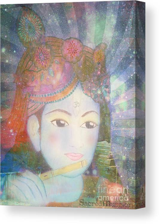 Krishna Canvas Print featuring the painting Krishna Consciousness by Sacred Muse
