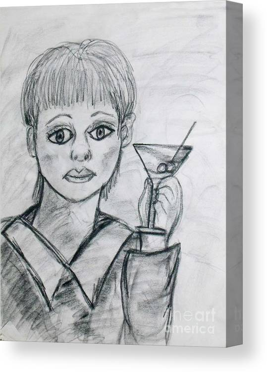 Woman Drinking Canvas Print featuring the drawing Martini Girl by Catherine Ratliff