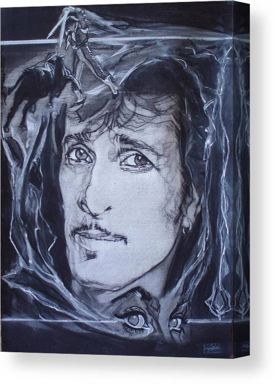 Charcoal;mink Deville;new York City;gina Lollabrigida Eyes ;cat Eyes;bullfight;toreador;swords;death;smoke;blues Canvas Print featuring the drawing Willy Deville - Coup De Grace by Sean Connolly