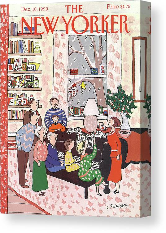 (a Family Gathers Around A Piano As They Sing Christmas Carols.) Entertainment Canvas Print featuring the painting New Yorker December 10th, 1990 by Devera Ehrenberg