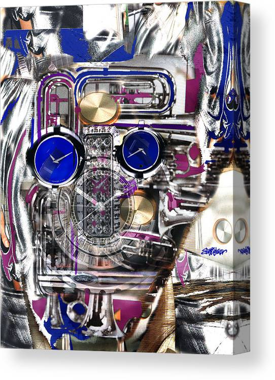 Robotic Time Traveller Canvas Print featuring the digital art Old Blue Eyes by Seth Weaver