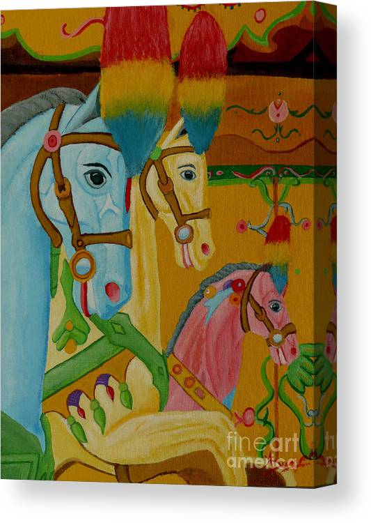 Carousel Canvas Print featuring the painting Painted Ponies by Anthony Dunphy