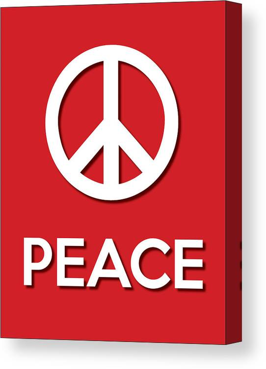 Life Message Canvas Print featuring the digital art Peace Red by Splendid Notion Series
