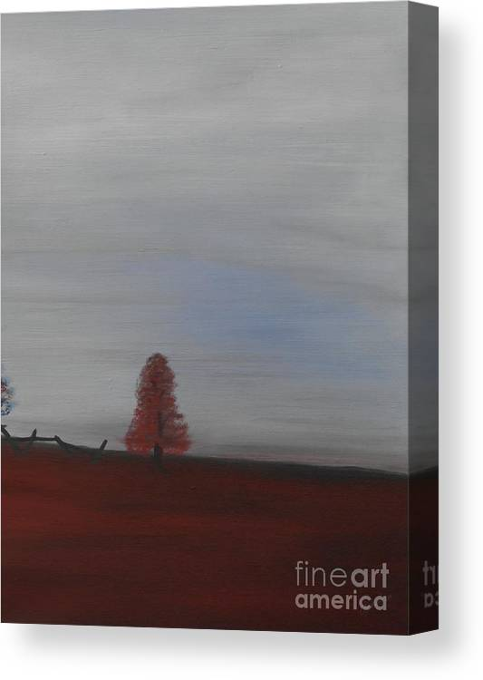 Canvas Print featuring the painting Red Tree by Owen G Maidstone