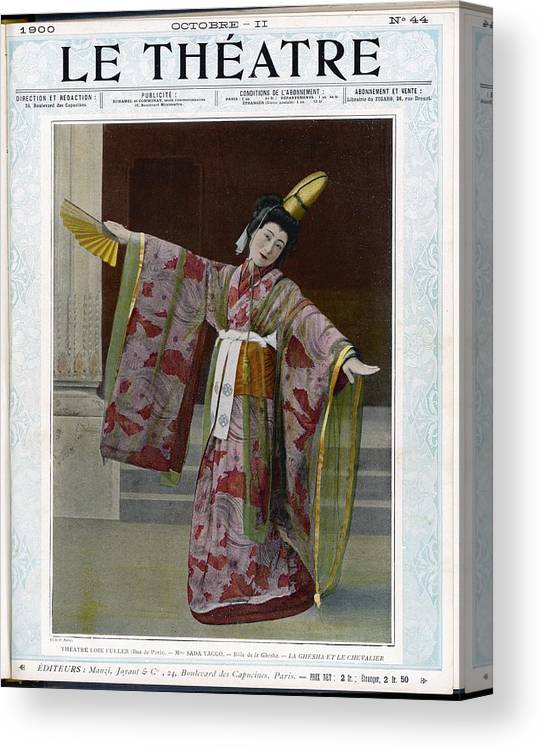 Sada Canvas Print featuring the photograph Sada Yacco Japanese Actress Who Toured by Mary Evans Picture Library
