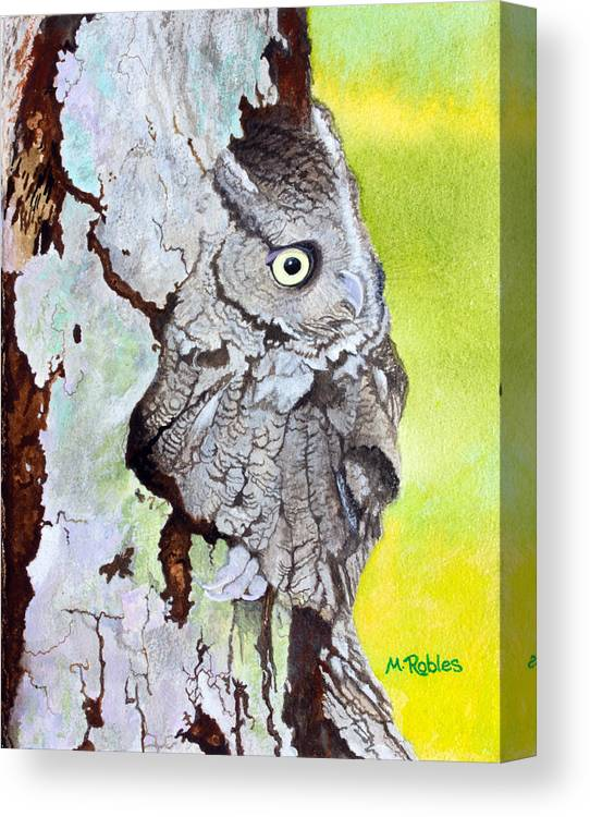 Wildlife Canvas Print featuring the painting Screech Owl by Mike Robles