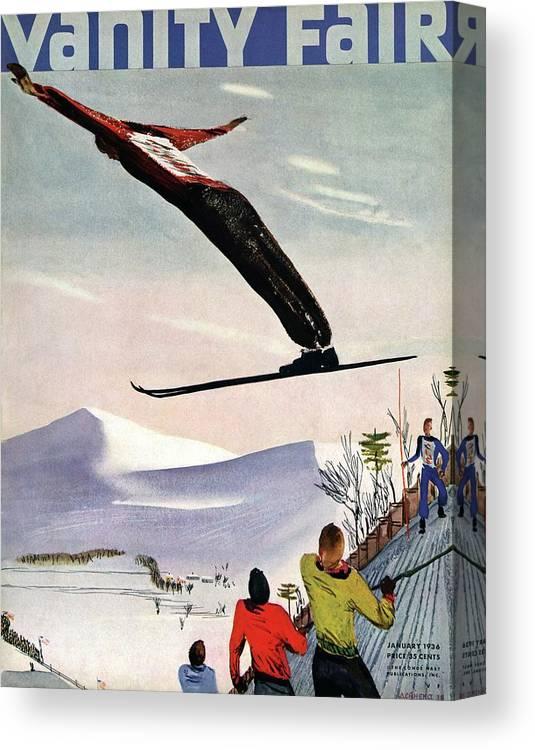 Illustration Canvas Print featuring the photograph Ski Jump On Vanity Fair Cover by Deyneka