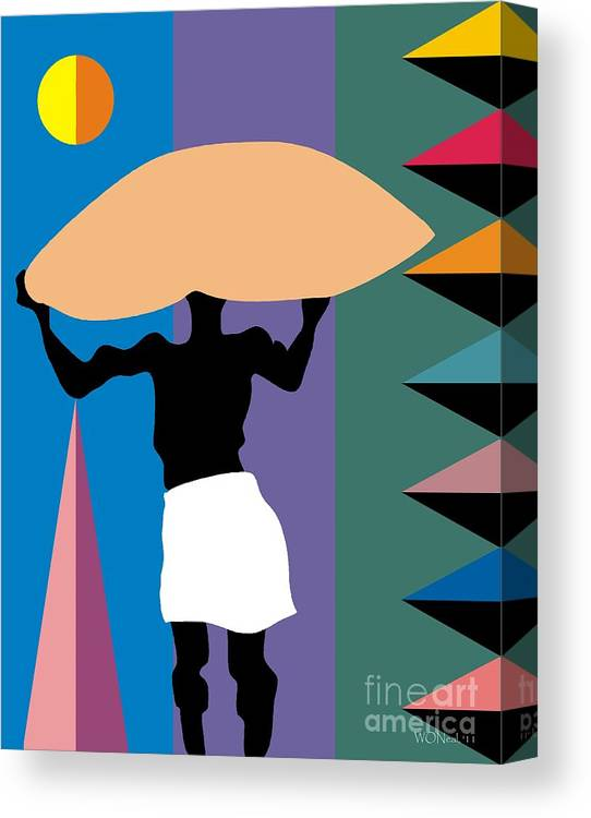 Portraits Canvas Print featuring the digital art The Burden by Walter Neal