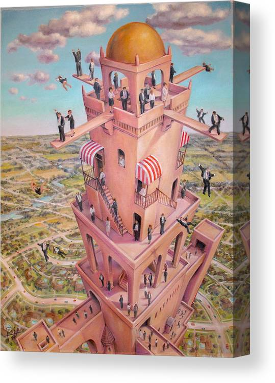 Tower Canvas Print featuring the painting Tower Of Babbit by Henry Potwin