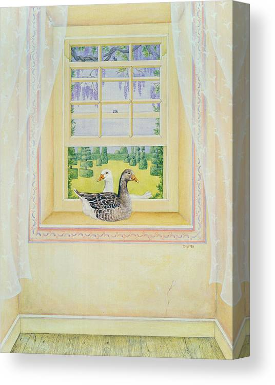 Contemporary Canvas Print featuring the painting Window Geese by Ditz