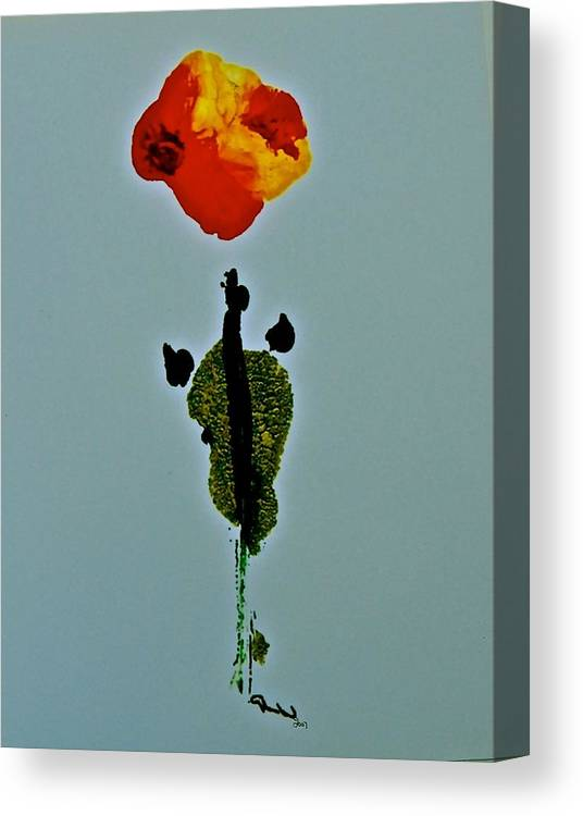 The Bloom Of This Abstract Apears As If It Is Gazing Upon You And Perhaps Wonder As We Are What Are You! Canvas Print featuring the painting Alein Flower by Gloria Warren