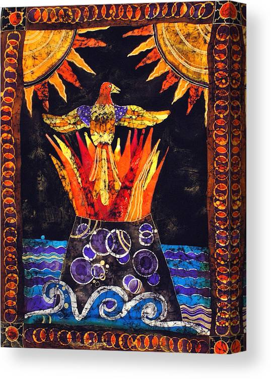 Silk Canvas Print featuring the tapestry - textile Phoenix by Sandra Kern