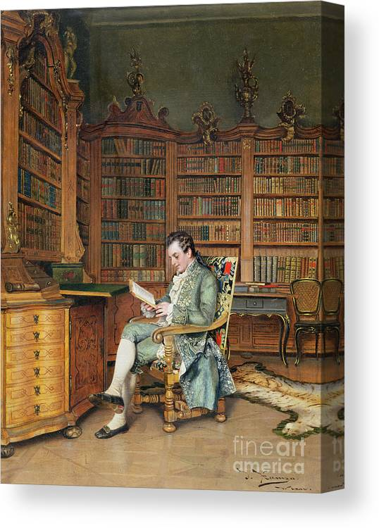 The Bibliophile Canvas Print featuring the painting The Bibliophile by Johann Hamza