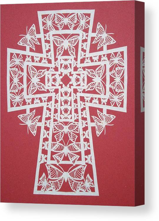 Beliefs Canvas Print featuring the mixed media 005 Butterfly-cross by Tong Steinle