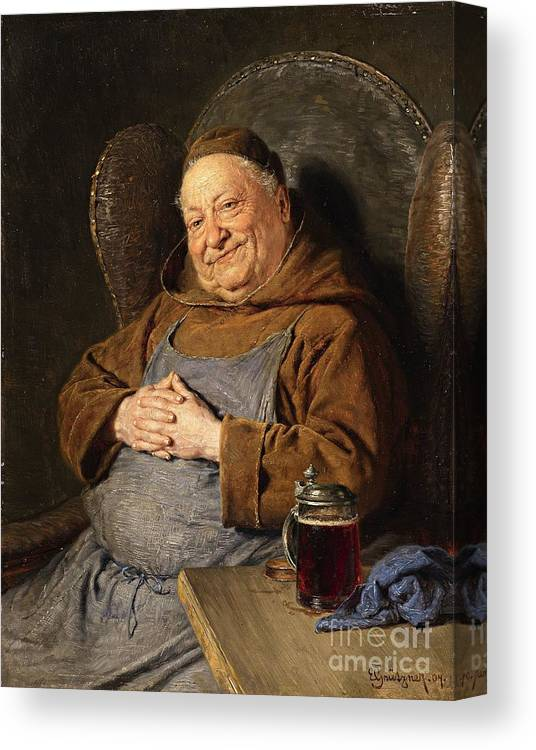 Von Gr�tzner Canvas Print featuring the painting A Seated Monk With A Tankard by Celestial Images
