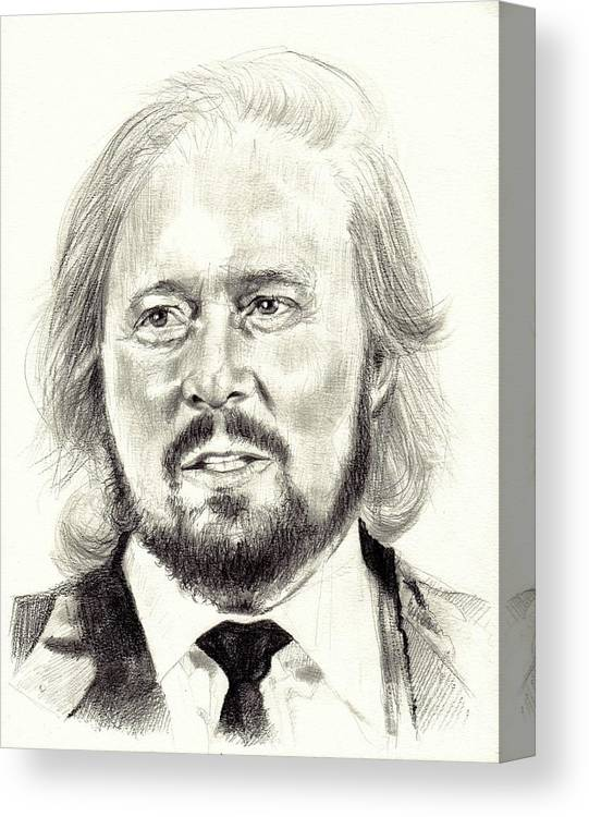 Barry Gibb Canvas Print featuring the drawing Barry Gibb Portrait 2 by Suzann Sines